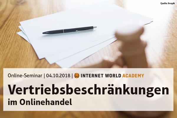 Banner: NMG Online Seminar: Vertriebsbeschränkungen im Online-Handel